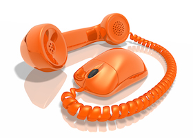 Orange phone receiver with computer mouse (3D rendered illustration)