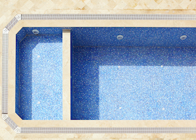 Empty blue tiled swimming pool in a state of disrepair